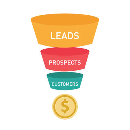 Sales funnel business concept wof leads prospects and customers.vector illustration