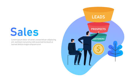 Sales funnel business concept of leads prospects and customers coin money.