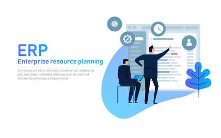 IT-Manager, der die Architektur des ERP Enterprise Resource Planning-Systems auf einem virtuellen AR-Bildschirm mit Verbindungen zwischen Business Intelligence BI-, Produktions-, HR- und CRM-Modulen analysiert