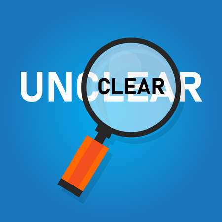 Clear unclear word zoomed with magnifying glass. Concept of confuse and clarity. Vector