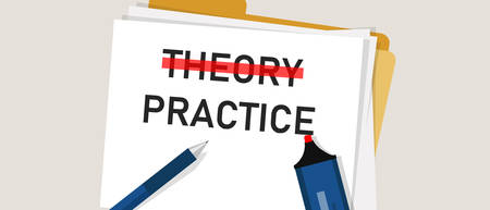 Theory Practice concept word in paper with red marker on. Illustration of implementation execution is more important compared to knowledge. vector