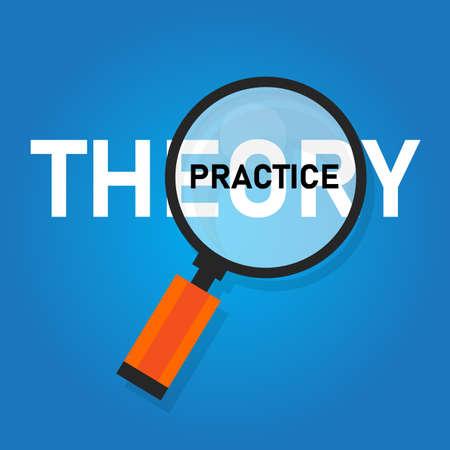 Theorie-Praxis-Konzeptwort mit Lupe gezoomt. Die Veranschaulichung der Implementierungsausführung ist wichtiger als das Wissen. Vektor