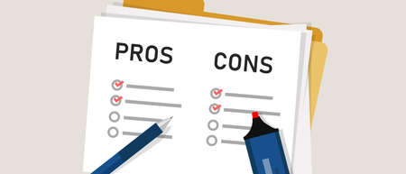 pros cons concept on decision making process. Listing positive and negative for a solution or choice. research question survey. mark on paper. vector
