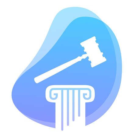 Law and Constitution symbol. Hammer on pillar column. Government set of principles concept. Vector
