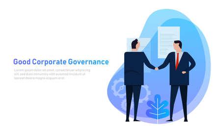 Buen gobierno corporativo. El equipo empresarial acuerda un conjunto de principios y cooperación. Vector Ilustración de vector