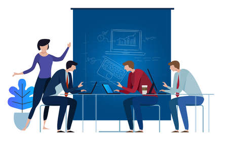 Blue-print team working as team on laptop. concept illustration collaboration together on top of the table vector. vector