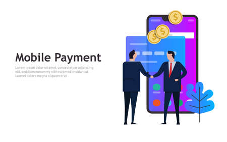 mobile payment, online smart phone shopping transaction business concept. Vector Ilustração