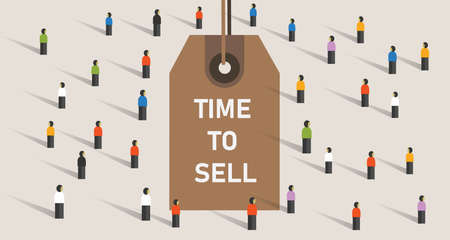 Time to sell concept with price rag marker on crowd market transaction vector
