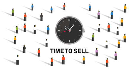 Time to sell concept with clock on crowd market transaction vector Ilustração