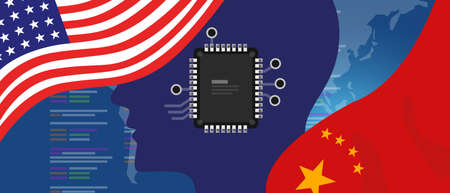 Artificial intelligence AI neuralink chip digital neural engine. China and USA relations concept. Flags on technology