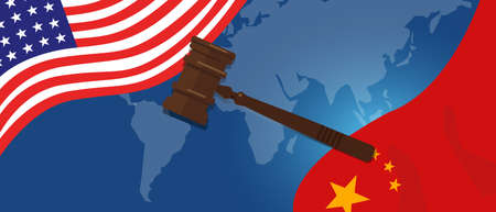 Law legal case trade tension or trade war between US and China, financial concept Flags of USA and China with gavel or hammer