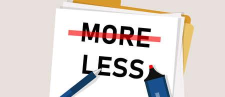 Minimalismo Menos es más el concepto de paradoja de evitar el desorden, tener enfoque y menos distracción. Ilustración vectorial Ilustración de vector