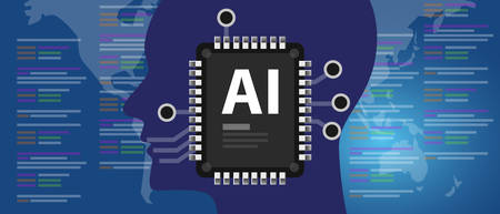 AI Artificial Intelligence programming code human brain connected to computer chips Banque d'images - 129786765