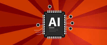 AI Artificial Intelligence industry revolution with chip electronic technology