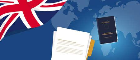Document de demande de visa ou permis de travail étudiant pour le Royaume-Uni Royaume-Uni Angleterre. Passeport et papier symbole de la réforme de l'immigration