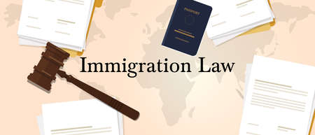 Immigration law concept of regulation . Letter paper with gavel or hammer and passport Illustration