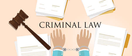 criminal law. legal crime handcuff paper and hammer