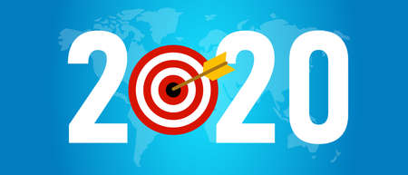 2020 target new resolution. Symbolize with dart arrow world map in blue