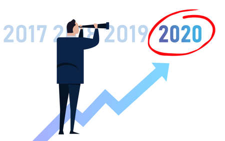 Business man leader vision ahead strategy for 2020 new year in company. Looking at growth target marked and oportunity