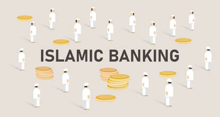Islamic banking. Concept of managing money using shariah Islam religion law Illustration