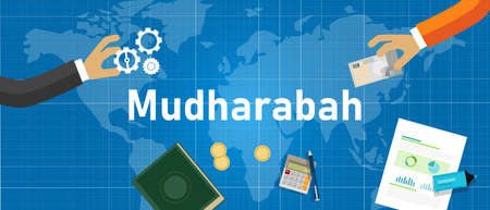 Mudharabah ou Mudarabah la manière de conduire l'investissement dans l'Islam. une forme de contrat commercial dans lequel une partie apporte un capital et l'autre un effort personnel avec une part proportionnelle des bénéfices