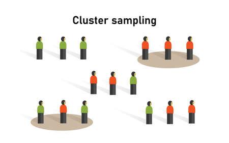 Méthode d'échantillonnage en grappes en statistique. Recherche sur la collecte de données d'échantillons dans les techniques d'enquête scientifique. Vecteurs