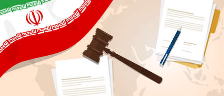 Iran law justice judicial trial legal. Document paper and hammer or gavel with Iranian republic flag and map