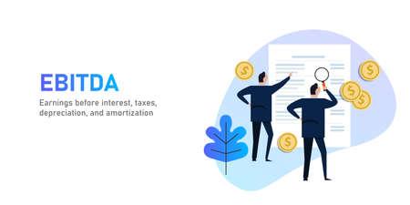 EBITDA Utile prima di interessi, imposte, svalutazioni e ammortamenti. Uomo d'affari che esamina rendiconto finanziario o relazione Vettoriali