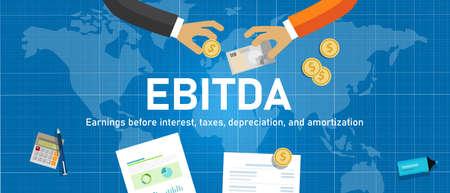 EBITDA Bénéfice avant intérêts, impôts, dépréciation et amortissement. main avec de l'argent transaction commerciale mondiale