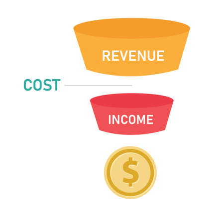 Revenue funnel cost and income flow of profit coin money Ilustrace