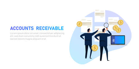 Accounts receivable money financial management in company, businessman looking at invoice and payment
