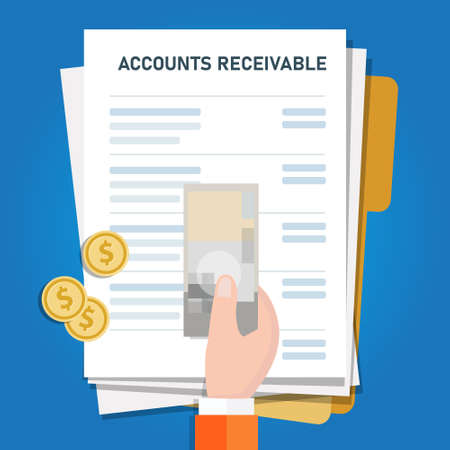 Accounts receivable money financial management in company, hand holding money on top of invoice for payment Vektoros illusztráció