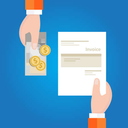 Zapłać rachunek za fakturę trzymając papierowe i gotówkowe pieniądze na wektor transakcji Ilustracje wektorowe