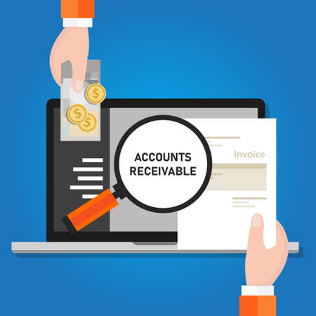 Pay invoice bill holding paper and cash money for transaction online laptop software vector