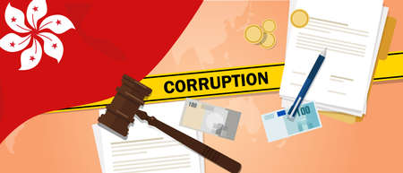 Corruption in Hongkong dirty money deal in business illegal cash financial transaction. Criminal case