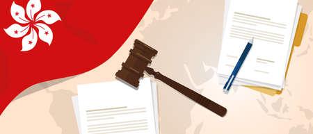 Hong Kong Law Justice Gerichtsverfahren legal. Dokumentenpapier und Hammer oder Hammer mit Flaggen- und Kartenvektor