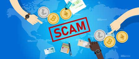 Arnaque à l'investissement frauduleux dans la crypto-monnaie. Transaction d'argent numérique crypto avec risque de sécurité Vecteurs
