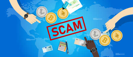 Cryptocurrency fraud investment scam. Crypto digital money transaction with safety risk Vektoros illusztráció