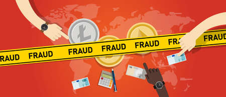 Cryptocurrency fraud investment scam. Crypto digital money transaction with safety risk Stock Illustratie