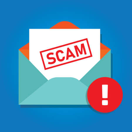 Email scam icon of envelope with phishing content alert detected