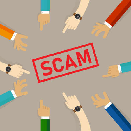 Scam alert hand pointing together to the text alert vector Stock Illustratie
