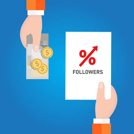 Buy followers in social media to get attention from the crowd. Strategy to increase followers number percentage up Vector Illustration