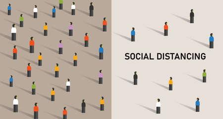 Illustration de l'ector covid-19 du virus corona de prévention de la distanciation sociale