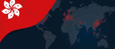 Corona virus covid-19 pandemic outbreak world map spread with flag of Hongkong