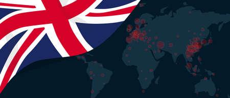 Corona virus covid-19 pandemic outbreak world map spread with flag of UK England United Kingdom illustration Stock Illustratie