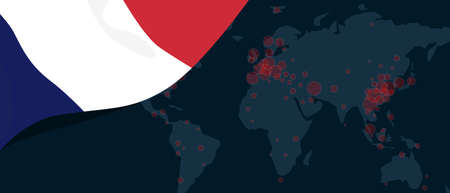 Corona virus covid-19 pandemic outbreak world map spread with flag of France illustration