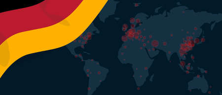 Corona virus covid-19 pandemic outbreak world map spread with flag of German illustration
