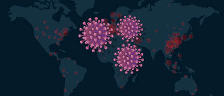 world map of corona virus covid-19 spread epidemic pandemic outbreak in many country