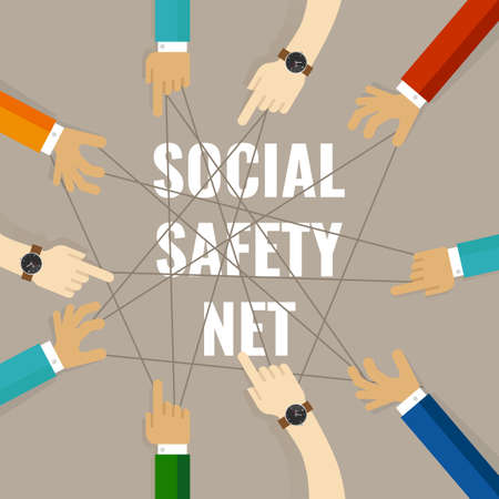 Social safety net services by the state includes welfare, unemployment benefit and healthcare to prevent individuals from falling into poverty
