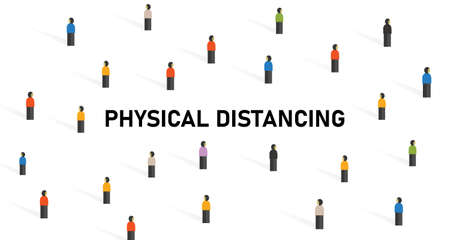 physical distancing crowd of people to avoid contact virus spread corona covid-19 virus Stock Illustratie